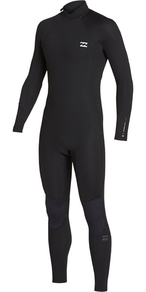 2019 Billabong Mens 3/2mm Furnace Absolute Back Zip Wetsuit Black Silver N43M33