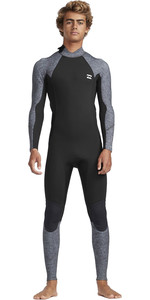 2019 Billabong Mens 3/2mm Absolute Back Zip Flatlock Wetsuit Grey Heather N43M33