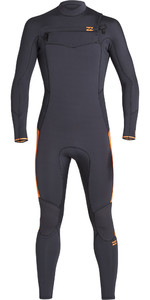 2019 Billabong Mens Furnace Absolute 4/3mm Chest Zip Wetsuit Schwarzen Sand Q44m09