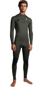 2019 Billabong Mannen Furnace Absolute 4/3mm Chest Zip Wetsuit Olive Q44m09