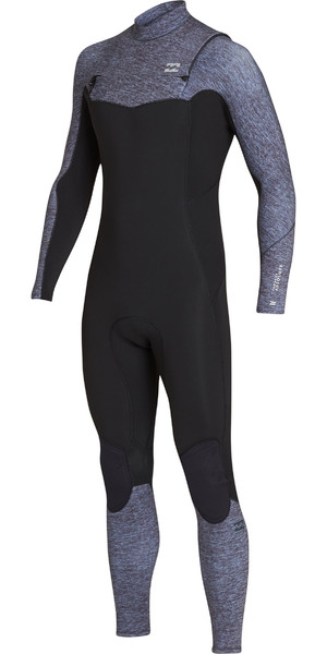 2019 Billabong Mens 4 / 3mm Fornalha Absoluto Peito Zip Wetsuit Cinza Urze N44M03