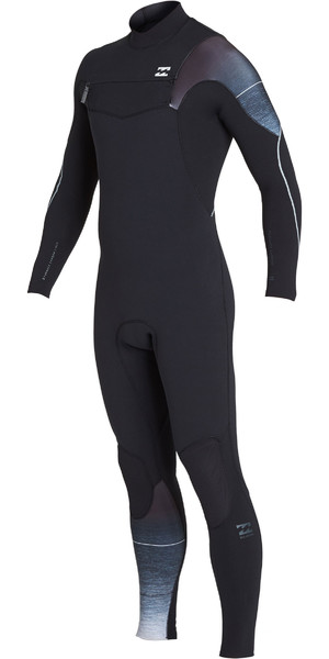 2019 Billabong Mens 4 / 3mm Forno De Carbono Comp Zip Wetsuit Preto Fade N44M01