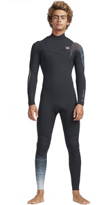 2019 Billabong Hommes 3 / 2mm Four Carbon Comp Comb Zipperless Combinaison Noir Fade N43M30