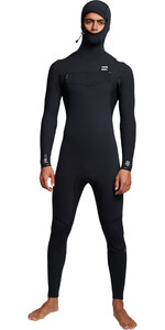 2019 Billabong Mannen Furnace Comping 4/3mm Hooded Chest Zip Wetsuit Zwart Q44m04