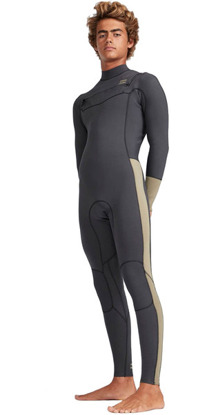 2019 Billabong Mens 4/3mm Furnace Revolution Chest Zip Wetsuit Black Sands N44M02