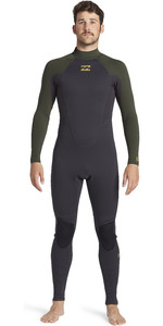 2021 Billabong Mens Intruder 3/2mm Back Zip Flatlock Wetsuit 043M19 - Antique Black