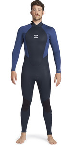 2021 Billabong Mannen Intruder 4/3mm Back Zip Gbs Wetsuit 044m18 - Navy