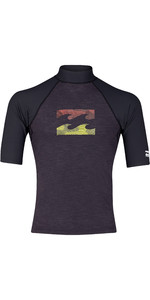 2019 Billabong Herenteam Wave Korte Mouw Rash Vest Black Heather N4my02