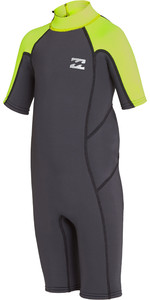 2019 Billabong Toddler Boys Absolute 2mm Back Zip Shorty Wetsuit Neon Yellow N42T01