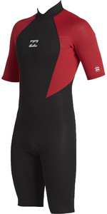 2021 Billabong Junior Boys Intruder 2mm Back Zip Shorty Wetsuit 042B19 - Red