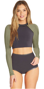 2019 Billabong Dames 1mm Neopreen Crop Top Met Lange Mouwen Zwart Olive N41G10