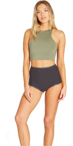 2019 Billabong Frauen 1mm Neopren Ärmel Crop Top Schwarz Olive N41g09