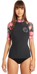 2019 Billabong Womens Flower Short Sleeve Rash Vest Black Pebble N4GY03