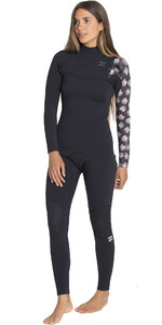 2019 Billabong Dames 3 / 2mm Oven Carbon Comp Borst Zip Wetsuit Zwart Print N43G02