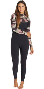 2019 Billabong Mujeres Furnace Carbono 5/4mm Traje De Neopreno Con Chest Zip Palm Negra Q45g31