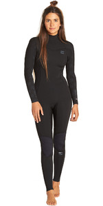 2019 Billabong Womens Furnace Synergy 3/2mm Back Zip Flatlock Wetsuit Black Palms N43G45