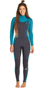 2019 Billabong Junior Meisje Furnace Synergy 3/2mm Back Zip Flatlock Wetsuit Pacific N43b08
