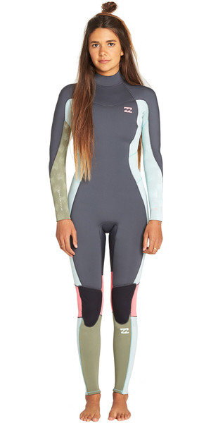 2019 Billabong Womens Furnace Synergy 3/2mm Back Zip Flatlock Wetsuit Seafoam N43G45
