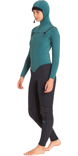 2018 Billabong Womens Furnace Synergy 5/4mm Hooded Chest Zip Wetsuit Sugar Pine L45G30