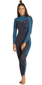 2019 Billabong Vrouwen Furnace Synergy 3/2mm Back Zip Wetsuit Black Marine Q43g04