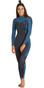 2019 Billabong Vrouwen Furnace Synergy 5/4mm Back Zip Wetsuit Black Marine Q45g05