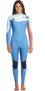 2019 Billabong Mulheres Furnace Synergy 5/4mm Chest Zip Wetsuit Azul Urze Q45g32