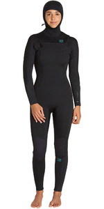 2019 Billabong Mulheres Furnace Synergy 5/4mm Com Capuz Chest Zip Wetsuit Preto Q45g04