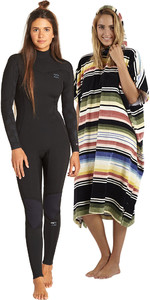 Billabong Women's Furnace Synergy 3/2 Bagside GBS Wetsuit & Salty Hooded Poncho Package - Black Palms