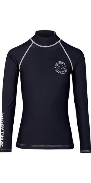 2019 Billabong Womens Logo In Long Sleeve Rash Vest Black Pebble N4GY02