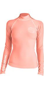 2019 Billabong Logo De Mujer En Chaleco De Sarpullido De Manga Larga Coral Pink N4gy02