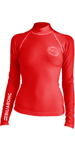 2019 Billabong Womens Logo In Long Sleeve Rash Vest Sunset Red N4GY02