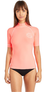 2019 Billabong damesshirt met korte mouwen Rash Vest Coral Pink N4GY01