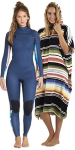 Billabong Womens Salty Dayz 5/4 Chest Zip Wetsuit & Salty Hooded Poncho Package - Blue Swell