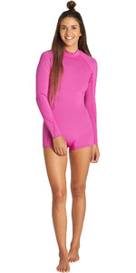 2019 Billabong Dames Spring Fever 2mm Long Sleeve Back Zip Shorty Wetsuit Orchid Haze Q42G03