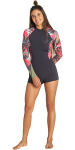 2019 Billabong Dames Spring Fever 2mm Lange Mouw Back Zip Shorty Wetsuit Tropisch Q42g03