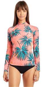 2019 Billabong Dames Surfcapsule Rash Vest met Lange Mouw Palm N4GY06