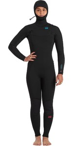 2020 Billabong Feminino Synergy 5/4 5/4mm Chest Zip Com Capuz Wetsuit U45g35 - Preto