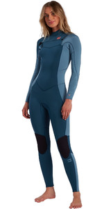2021 Billabong Womens Synergy 4/3mm Chest Zip Wetsuit W44G51 - Blue Seas