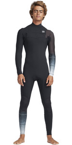 2019 Billabong Maschile 2mm Pro Series Chest Zip Muta Dissolvenza Nero N42m01