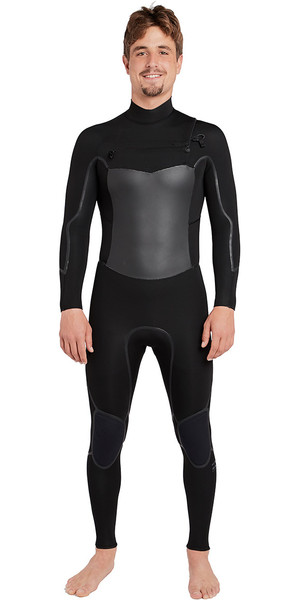 2019 Billabong Fornalha Absolute X 4 / 3mm Peito Zip Wetsuit Preto L44M07
