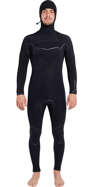 2018 Billabong Furnace Carbon Ultra Hooded 7 / 6mm Bryst Zip Wetsuit Black L47M01