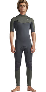 2019 Billabong Men's 2mm Furnace Absolute Comp Chest Zip Wetsuit Olive Preta N42m19
