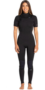 2019 Billabong Mulheres Furnace Synergy 2mm Manga Curta No Chest Zip Gbs Wetsuit Palms Negras N42g06