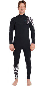 2019 Billabong Heren Furnace Carbon Comp 3/2mm Wetsuit Met Chest Zip Zwarte Print L43m26