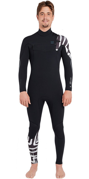 2019 Billabong Furnace Carbon Comp 4/3mm Chest Zip Wetsuit Black Print L44M02