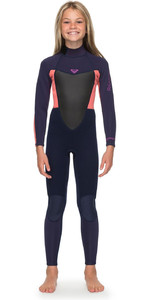 2019 Roxy Girl's 3/2mm Prologue Back Zip Comprimento Total Wetsuit Fita Azul Ergw103023