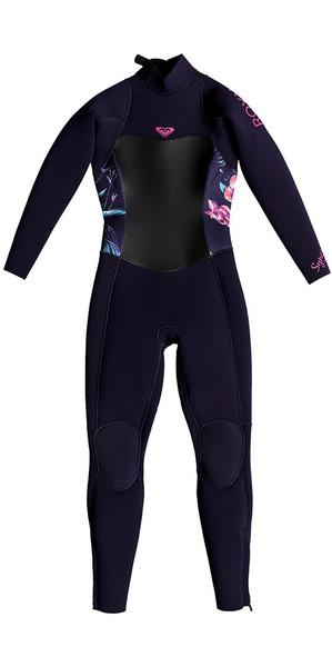 2018 Roxy peuter syncro 4 / 3mm back Zip Wetsuit blauw lint ERLW103002