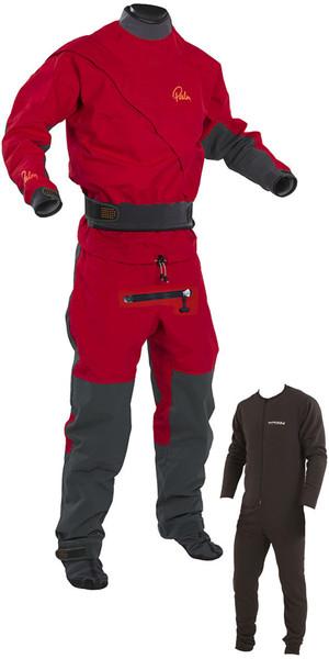 2018 Palm Cascade Zip delantero Drysuit Kayak + CON ZIP + Underfleece Rojo / Negro 11741
