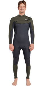 2019 Billabong Furnace Masculina Absolute 3/2mm Chest Zip Wetsuit Olive Escuro L43m09