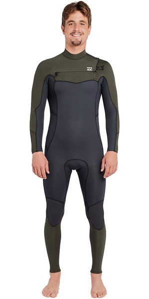 2019 Billabong Four Absolute 4 / 3mm poitrine Zip Wetsuit Dark Olive L44M09